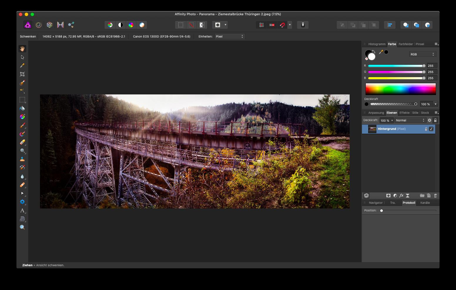 Affinity Photo - Panorama für Instagram zuschneiden